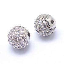 Cirkónia kristályos, ródium színű 8mm-es golyó gyöngy, furat: 1,8mm