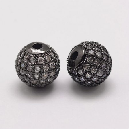 Cirkónia kristályos, fekete (gunmetal) színű 10mm-es golyó gyöngy, furat: 1,8mm