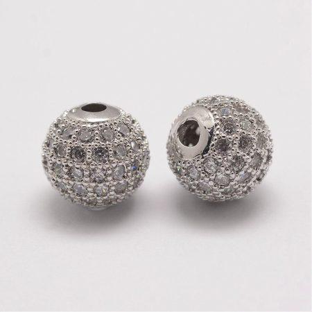 Cirkónia kristályos, ródium színű 10mm-es golyó gyöngy, furat: 1,8mm