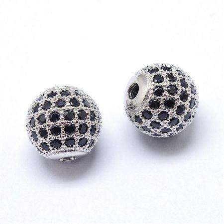 Fekete cirkónia kristályos, ródium színű 8mm-es golyó gyöngy, furat: 1,8mm