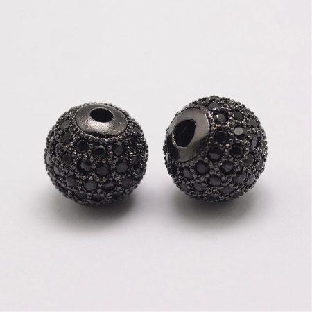 Fekete cirkónia kristályos, fekete (gunmetal) színű 10mm-es golyó gyöngy, furat: 1,8mm