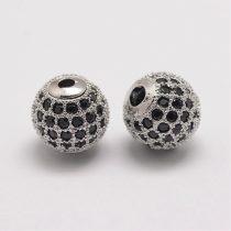 Fekete cirkónia kristályos, ródium színű 10mm-es golyó gyöngy, furat: 1,8mm