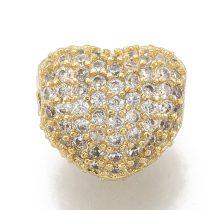 Cirkónia kristályos, arany színű 8x7x5mm-es szív köztes gyöngy, furat: 1mm