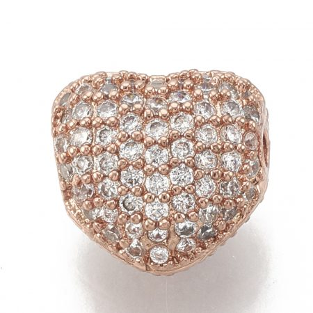 Cirkónia kristályos, rózsaarany színű 8x7x5mm-es szív köztes gyöngy, furat: 1mm