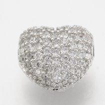 Cirkónia kristályos, ródium színű 8x7x5mm-es szív köztes gyöngy, furat: 1mm