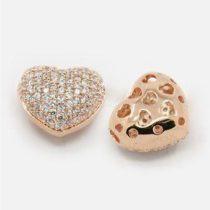 Cirkónia kristályos, rózsaarany színű 14x13x8mm-es szív köztes gyöngy, furat: 1,5x2,5mm