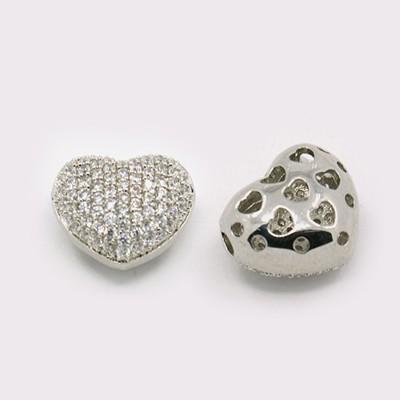 Cirkónia kristályos, ródium színű 14x13x8mm-es szív köztes gyöngy, furat: 1,5x2,5mm