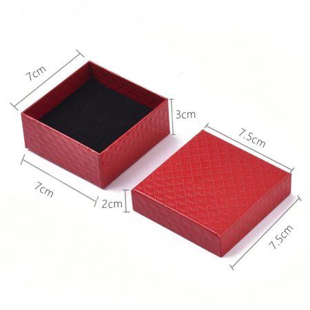 Papír ajándék doboz, díszdoboz ékszerhez - 7,5x7,5x3cm-es - piros