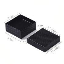 Papír ajándék doboz, díszdoboz ékszerhez - 7,5x7,5x3cm-es - fekete