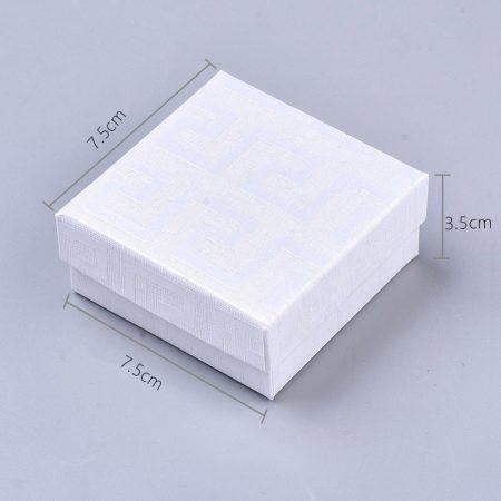 Papír ajándék doboz, díszdoboz ékszerhez - 7,5x7,5x3cm-es - fehér