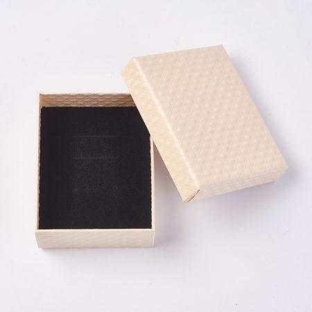 Papír ajándék doboz, díszdoboz ékszerhez - 9,5x7,5x4cm-es - krém színű
