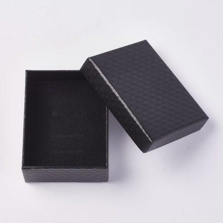 Papír ajándék doboz, díszdoboz ékszerhez - 9,5x7,5x4cm-es - fekete