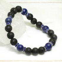 Lávakő, lápisz lazuli ásvány karkötő strasszos köztesekkel