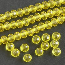 Kristálygyöngy fazettált rondell kb. 4x6mm-es átlátszó, citromsárga