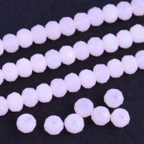 Kristálygyöngy fazettált rondell kb. 4x6mm-es világos rózsaszín, opálos