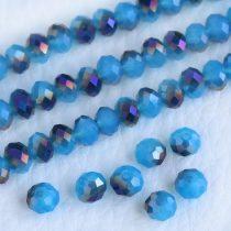 Kristálygyöngy fazettált rondell kb. 4x6mm-es félig fedett, opálos, kék, egyik oldalán lila metál