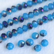 Kristálygyöngy fazettált fánk kb. 4x6mm-es félig fedett, opálos, kék, egyik oldalán lila metál