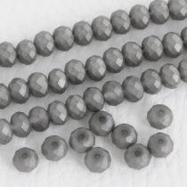 Kristálygyöngy fazettált rondell kb. 4x6mm-es opálos, szürke, matt