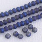 Kristálygyöngy fazettált fánk kb. 4x6mm-es félig fedett, opálos, szürkés lila, egyik oldalán kék, matt, irizáló