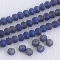 Kristálygyöngy fazettált rondell kb. 4x6mm-es félig fedett, opálos, szürkés lila, egyik oldalán kék, matt, irizáló
