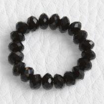 Kristálygyöngy fazettált rondell kb. 4x6mm-es fekete
