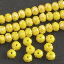 Kristálygyöngy fazettált rondell kb. 4x6mm-es telt, kicsit zöldes sárga, AB
