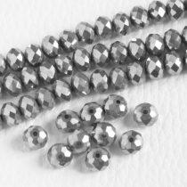 Kristálygyöngy fazettált rondell kb. 4x6mm-es teljesen fedett, metálfényű ezüst színű