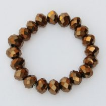 Kristálygyöngy fazettált rondell kb. 4x6mm-es teljesen fedett, metálfényű bronz színű