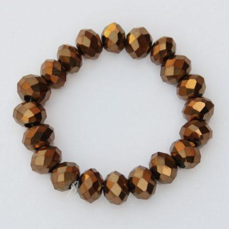 Kristálygyöngy fazettált fánk kb. 4x6mm-es teljesen fedett, metálfényű bronz színű