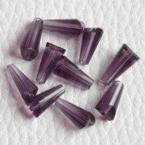 Kristálygyöngy -  fazettált kúpos kb. 12x6mm-es lila