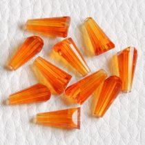 Kristálygyöngy -  fazettált kúpos kb. 12x6mm-es narancssárga
