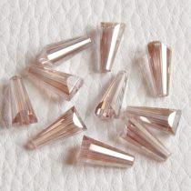 Kristálygyöngy -  fazettált kúpos kb. 12x6mm-es barackos rózsaszín AB