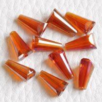 Kristálygyöngy -  fazettált kúpos kb. 12x6mm-es sötétebb narancs AB