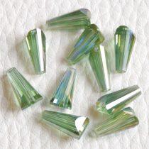 Kristálygyöngy -  fazettált kúpos kb. 12x6mm-es zöld AB