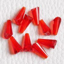 Kristálygyöngy -  fazettált kúpos kb. 12x6mm-es piros