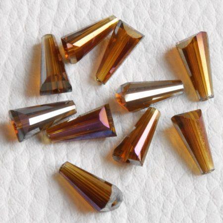 Kristálygyöngy -  fazettált kúpos kb. 12x6mm-es sötét borostyán AB