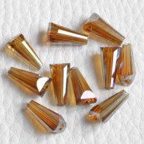 Kristálygyöngy -  fazettált kúpos kb. 12x6mm-es borostyánsárga AB