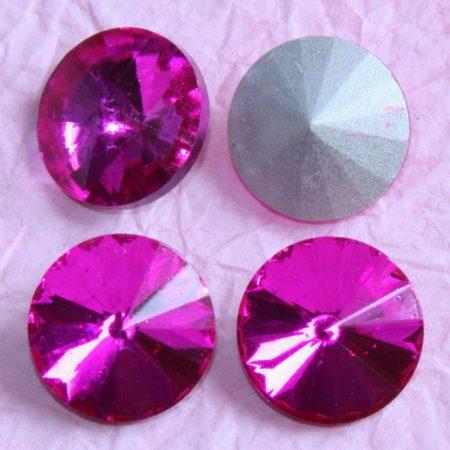Távolkeleti kristály rivoli 10mm-es - festett felületű pink (Fuchsia)