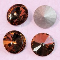 Távolkeleti kristály rivoli 12mm-es -  vörösesbarna (Smoked Topaz)