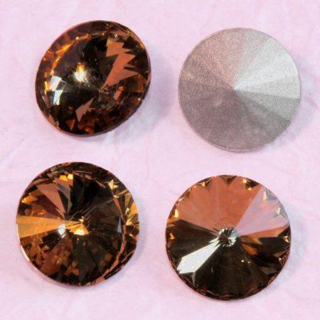 Távolkeleti kristály rivoli 14mm-es - barna (Colorado Topaz)