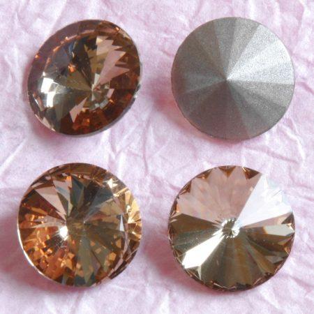 Távolkeleti kristály rivoli 14mm-es - sárgásbarna (Light Smoked Topaz)