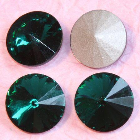 Távolkeleti kristály rivoli 14mm-es - smaragdzöld (Emerald)