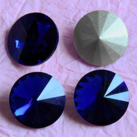 Távolkeleti kristály rivoli 14mm-es - mélykék (Cobalt, Dark indigo)