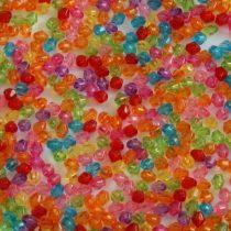 Akril fazettált kúpos gyöngy - 4x3,9mm-es vegyes színű átlátszó - 200db