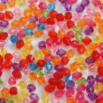 Akril fazettált kúpos gyöngy - 6,1x5,6mm-es vegyes színű átlátszó - 100db