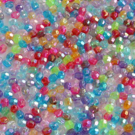 Akril fazettált gyöngy - 4x3,7mm-es vegyes színű átlátszó AB  - 200db