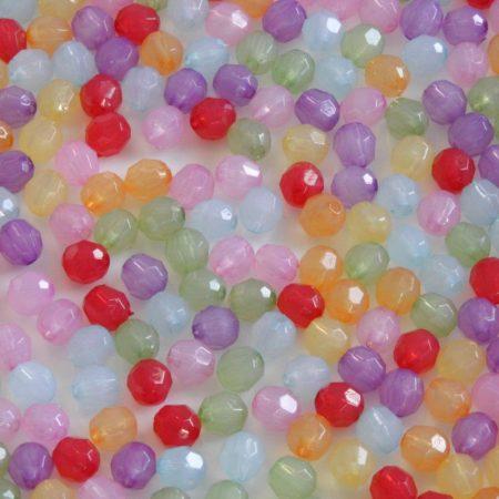 Akril fazettált gyöngy - 6x5,7mm-es vegyes opálos áttetsző  - 100db