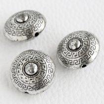 Akril görög mintás korong gyöngy - 23x14mm-es antik ezüst színű