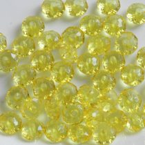 Akril gyöngy - 5x8mm-es átlátszó sárga fazettált rondell (fánk) - 30db