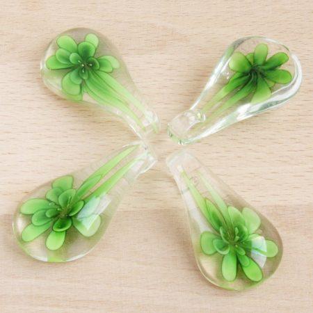 Muránói stílusú, kézi készítésű üvegmedál - kb. 5,5x3cm-es